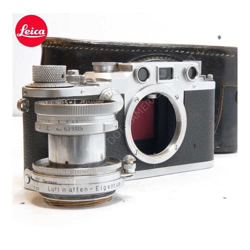Leica IIIc Luftwaffen-Eigentum and Summitar 5cm f2 with Case