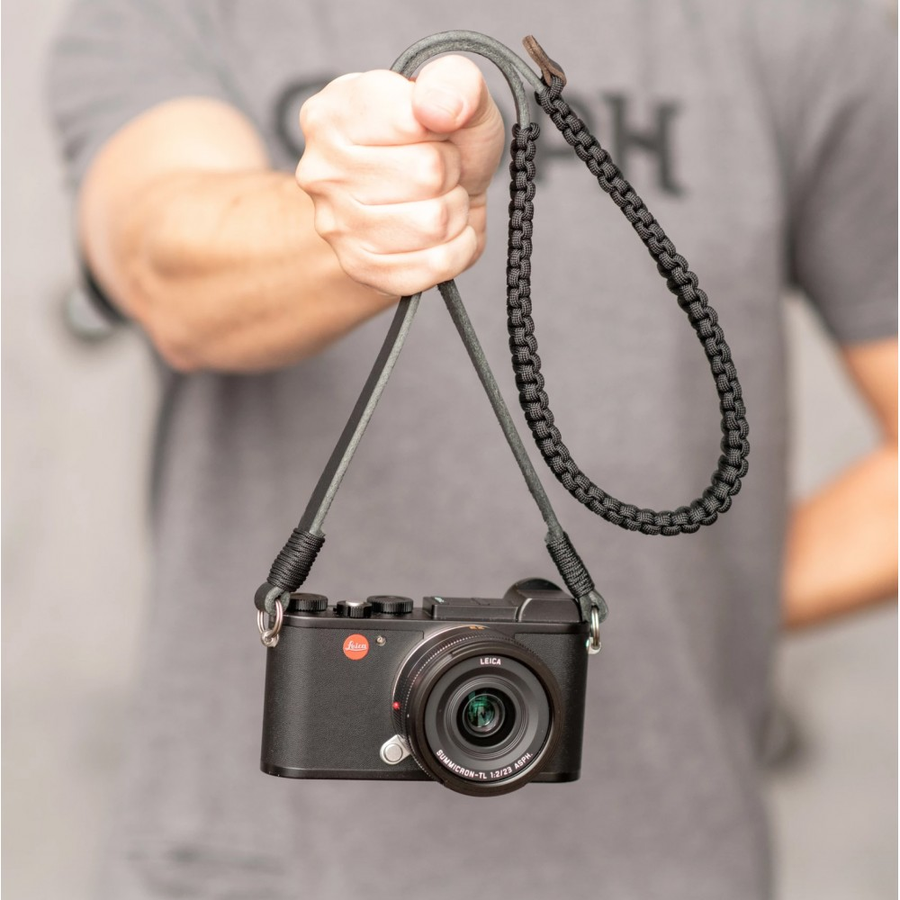 Leica Paracord Strap, BLACK/OLIVE 100cm Designed by COOPH